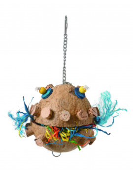 Puffer Fish Coconut Shell Parrot Bird Toy