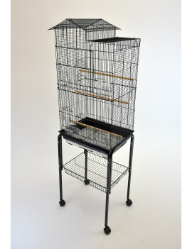 House Style Small Bird Cage with Rolling Stand