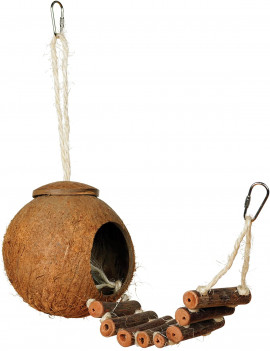 Natural Coconut Hideaway Parrot Bird Toy with Ladder