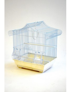 House Roof Style Small Bird Cage with Outside Feeders